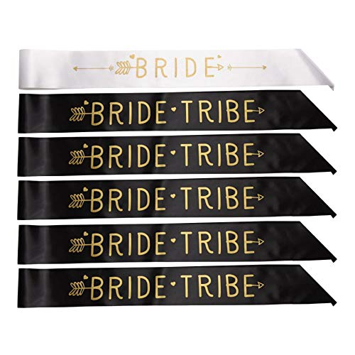 Bride Tribe Sashes | Set of 6 Bachelorette Sashes for The Bride & The Bridesmaids | Bride to be & Pre Wedding Party Photo Prop Accessories in Black, White & Gold by Fit Body Affair