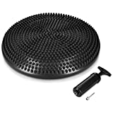 Navaris Air Stability Wobble Cushion - Air Inflated Exercise Fitness Core Balance Disc Wiggle Seat for Home, Office, Classroom - Includes Hand Pump