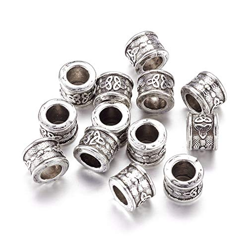 Knot Spacer - Craftdady 20Pcs Tibetan Antique Silver Large Hole Column with Trinity Knot Spacer Loose Beads Lead Free & Cadmium Free 10x8mm Fit for European Charm Macrame Bracelet Making with 6mm Hole