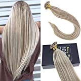 Sunny 16inch Prebonded Flat Tip Hair Extensions Golden Blonde with Blonde Keratin Fusion Hair Extensions 1g/strand 50G