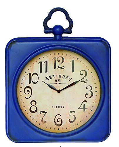 (NIKKY HOME Retro Metal Square Wall Clock with Top Handle Blue 13.75 X 2.75 X 17.5 Inch )