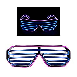 PINGGE US - Black Frame Colorful El Wire Neon LED Light Up Shutter Shaped Glasses for Rave Costume Party - Two Colors+ Standard Controller (Purple + Blue)