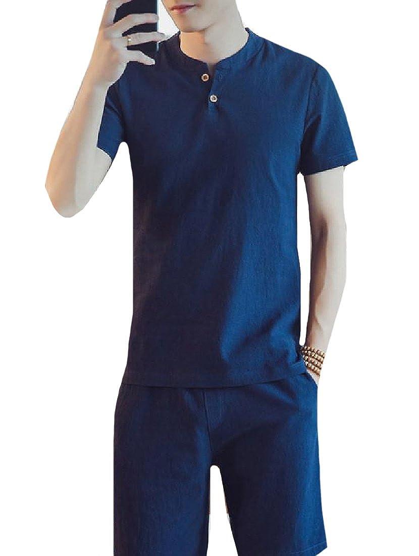 CuteRose Mens Summer Daily Tees Top /& Shorts Cotton Blend 2 Piece Set