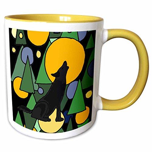 3dRose All Smiles Art Abstract - Colorful Wolf Howling at Moon Abstract Art - 15oz Two-Tone Yellow Mug (mug_196101_13) (Pics Of Wolves Howling At The Moon)