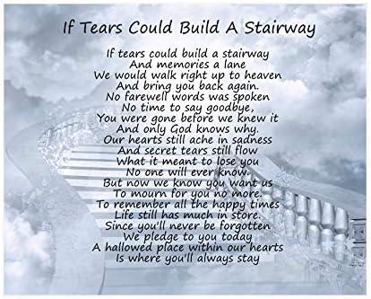 Si las lágrimas podría construir una escalera poema para cumpleaños, Navidad Memorial hermana aniversario esposo esposa novio y novia regalo ideal para enmarcar: Amazon.es: Hogar