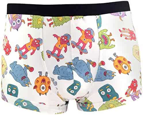 b47d6b5b3e30 Santa Playa Scaredy Monsters Super Soft Breathable Boxer Brief Trunk, Fun  Print Men's Underwear :