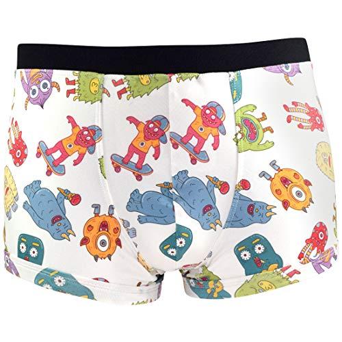 Santa Playa Scaredy Monsters Super Soft Breathable Boxer Brief Trunk, Fun Print Men's Underwear :: Ice Cream (M, Cream) -