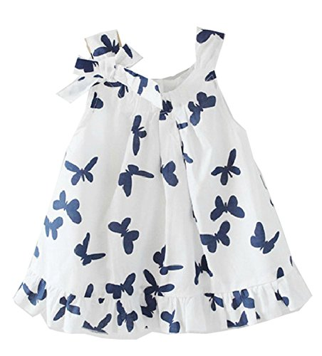 Metee Dresses Girls Toddlers Casual Top Butterfly Bowknot Cotton Dress