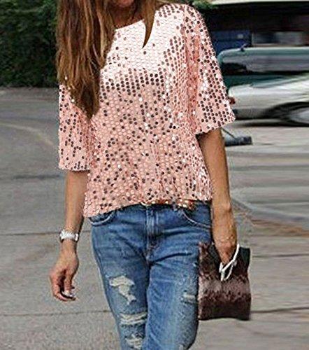 gold Femme Automne Tops Batwing shirt Paillette Casual Chemise Minetom Blouse T Lache P1xqZZ