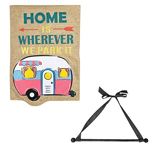 et) Camper Garden Flag and Wall Hanger - Homespun Look and Made of Burlap ()