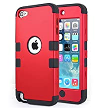 iPod Touch 6 Case, 3 Layer Hard and Soft Hybrid Armor Defender Case Cover for Apple iPod Touch 5/6 Case iTouch 5th 6th Gen Generation- Red