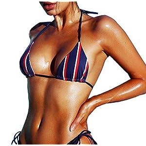 150d5e9c277 YAUASOPA Women Striped Triangle Bikini Sets Female Top Tie Side Bottom  Padded Swimsuit ...