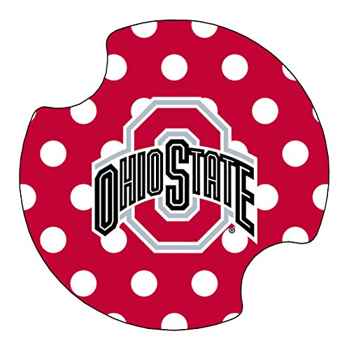 2 Pack Car Coasters - Thirstystone Ohio State University Dots Car Cup Holder Coaster, 2-Pack