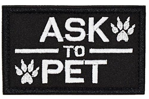 U-LIAN Tactical Dog Patch ASK TO PET for Pet Harness Vest Black