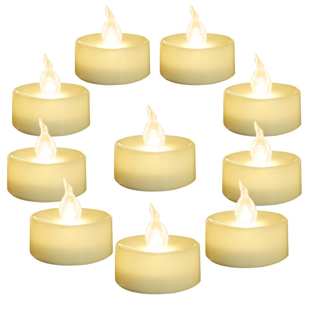 Homemory 24 PACK Warm White Battery LED Tea Lights, Flameless Flickering Tealight Candle, Dia 1.4'' Electric Fake Candle for Votive, Wedding, Party, Table, Dining room, Gift