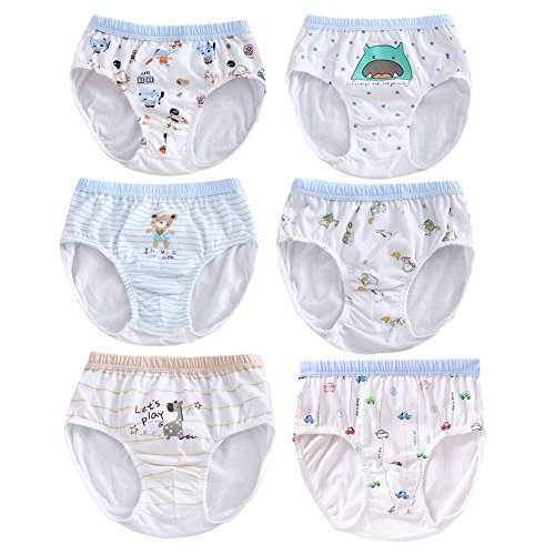 BAOBAOLAI Baby Boys Cotton Underwear Kids Boxer Briefs Cartoon Animal Patterns Short Panties Knickers Pack of 6 for 0-5 Years