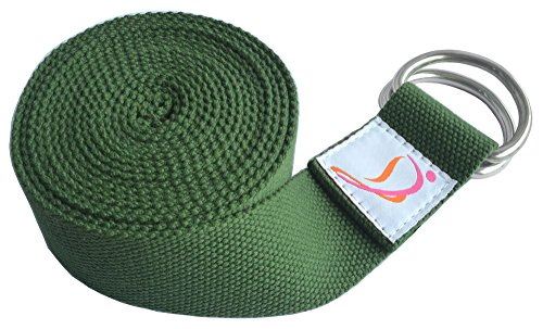 Dancina Yoga Strap 8ft with Steel D-Ring Pure Durable Cotton Green