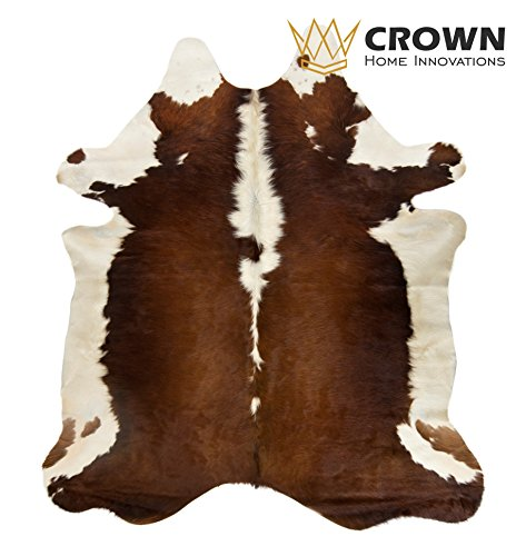 6ft x 7ft Brown and White Cowhide Rug | Cowhide Area Rugs by Crown Home Innovation | 100% Natural Leather Rugs (Brown and (Brown White Cow)