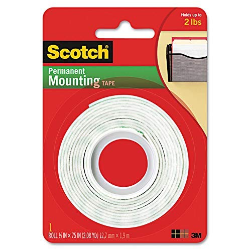 Foam 2 Tape Side - Scotch Permanent Mounting Tape, 0.5 x 75 inches (Pack of 2)