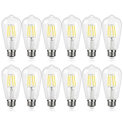 Antique LED Bulb, SHINE HAI 4W (40W Equivalent) ST58 Vintage Edison Light Bulb LED Lighting, 470 Lumen Daylight White 5000K E26 Base, Pack of 12
