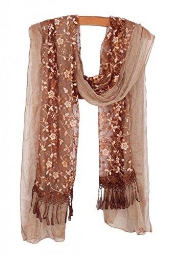 YYSTAR Women's Vintage Floral Super Soft Layered Chiffon Infinity Scarf Khaki