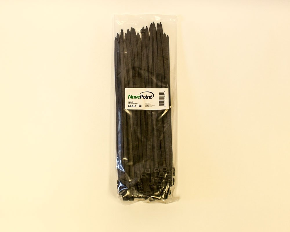 NavePoint 14 Inch Nylon UV Resistant Cable Wire Zip Tie 120 lbs - Black 1000 Pack Lot Pcs Qty by NavePoint (Image #4)