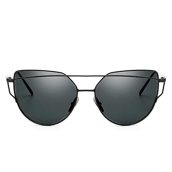 forepin reg; Gafas de Sol Mujer y Hombre Polarizadas Moda Marca Metal UV400 Lentes de Protección Planos Espejo con Estilo Ojo de Gato