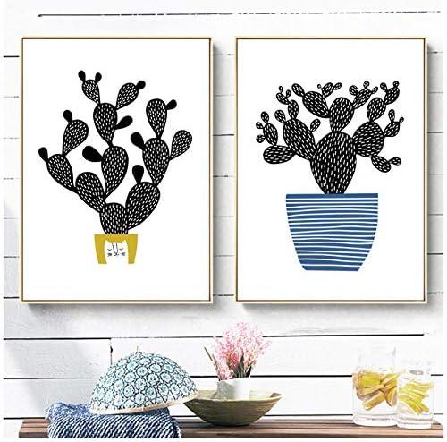 黒サボテン鉢植え花ウォールアートキャンバス絵画北欧ポスターとプリントキャンバスアート壁写真用リビングルームの装飾-50x70cmx2なしフレーム