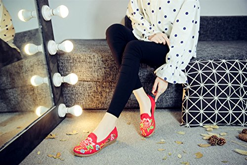 SK Studio Women's Chinese Embroidery Flat Mary Jane Shoes Women Flats Handmade Low Heel Floral Loafers Red Peony KrKX7UMS
