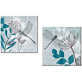 Decor Well   2 Pieces Teal Blue Wall Art Canvas Decor Set, Dragonfly And  Botanical
