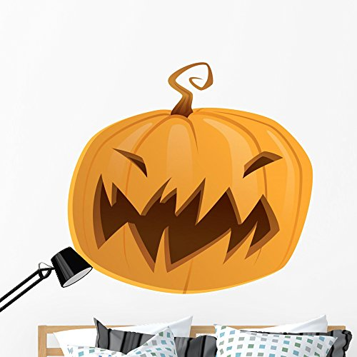 Wallmonkeys Halloween Scary Cartoon Pumpkin Wall Decal Peel and Stick Graphic (48 in H x 48 in W) WM153887 -