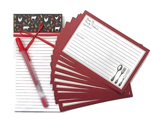 (40 Farmhouse Recipe Cards + Farm Rooster Grocery List Magnet Pad + Gelly Gel Pen Bundle for Kitchen Cooking Organizer   Cartes Recettes)