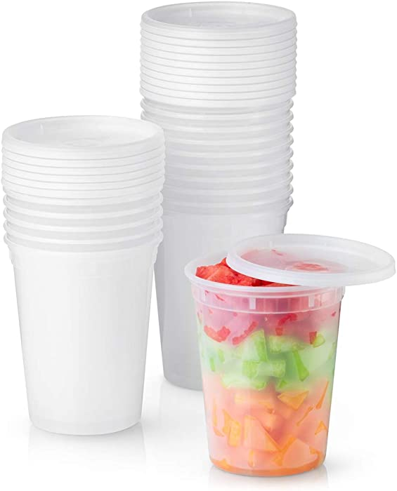 32 oz. Plastic Deli Food Storage Containers with Airtight Lids [24 Sets]