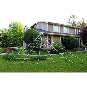 JOYIN Halloween Decorations, 23X18 ft Triangular Mega White Spider Web for Outdoor Halloween Decor Yard with 120g Super…