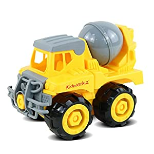 Kidwerkz Construction Vehicle, STEM Learning (Set 68 Pieces), Take Apart Fun (Pack of 3), Dump Truck, Cement Truck & Digger   With Tools and Electric Drill   Best Toy Gift Kids 3-6 yrs-old Boys Girls