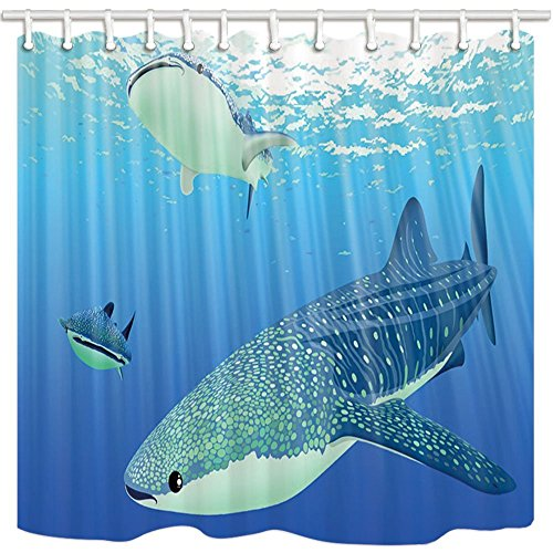 GoEoo Sea Animal Decor Shower Curtain By Cartoon Whale Shark In Underwater Domestic Or Hotel Bathroom Mildew Resistant Polyester Fabric Waterproof Shower Curtain Set With Hooks 69X70in ()
