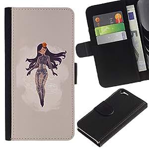 JackGot ( Resumen Mujer ) Apple (4.7 inches!!!) iPhone 6 / 6S la tarjeta de Crédito Slots PU Funda de cuero Monedero caso cubierta de piel