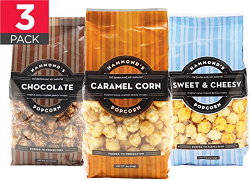 Caramel Popcorn Gourmet Popcorn Assortment (3pack) - Hand Made, Small Batch, Kettle Coated Caramel Corn by Hammond's Candies with Premium Ingredients Including Real Butter and Brown Sugar ()