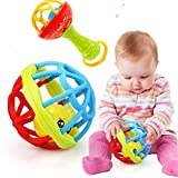 Baby Rattles Ball Toy for Kids 0-2 Old Teether Activity Bath Toys - Best Baby Shower Gift (Ball+Stick)