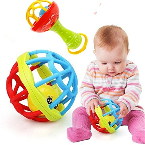 Baby Rattles Ball Toy for Kids 0-2 Old Teether Activity Bath Toys ,Best Baby Shower Gift (Ball+Stick)
