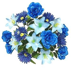 """Silk Flower Garden Roses Lilies Daisies Mixed Bouquet 18 Heads 21"""", Blue 28"""