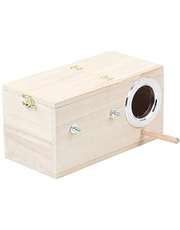 Yijiujiu Caja de Madera para Mascotas con diseño de periquitos y cacatúas