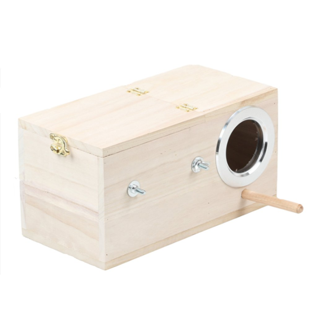 Pet Wood Parakeet Budgie Cockatiel Breeding Nesting Bird Avery Cage Box (M)