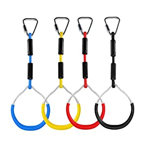 letsgood Colorful Swing Gymnastic Rings - Outdoor Backyard Play Sets & Playground Equipment, Monkey Ring, Climbing Ring, Obstacle Ring - Swing Toys Set for Kids Boys Girls