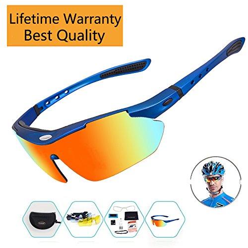 Sports Sunglasses For Men Women Cycling Glasses Polarized Baseball Running Fishing Driving Golf Hunting Biking Hiking With 5 Interchangeable Lenses (Blue Frame, 5 - Sale Zegna Sport