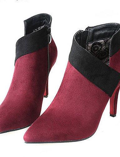 Stiletto Cn38 Xzz 5 Puntiagudos Black Uk5 5 Vestido us7 Tacones Tacón De Mujer Rojo Botas Zapatos Vellón Eu38 Negro UgrUqI