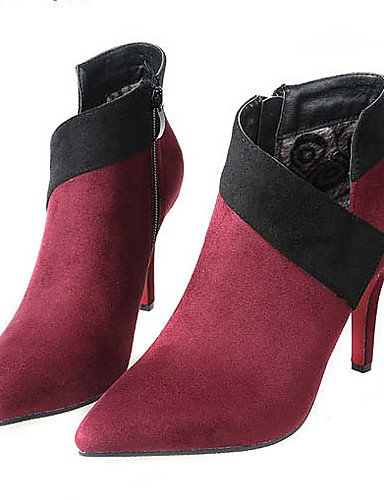 Stiletto 5 Negro De Vellón Vestido Black Eu38 Rojo Botas us7 Puntiagudos Tacones Mujer Tacón Uk5 5 Cn38 Zapatos Xzz v6qwIA6