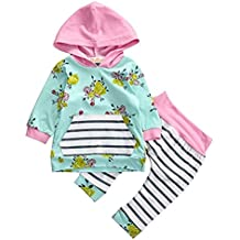 Baby Girls 2pcs Set Outfit Flower Print Hoodies Top+Striped Long Pants 0-12 Month(Medium)