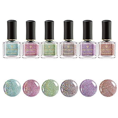 BORN PRETTY Holographic Nail Polish High Gloss and Sparkle Glitter Shine Manicure Varnish Lacquer 6ml Sets (Glitter Holographic Set 2)