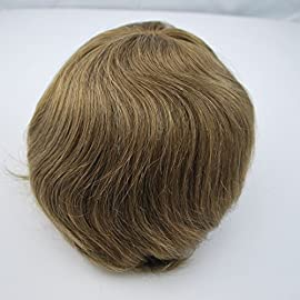 Ready Made Light Brown 6# Mens Remy Human Hair Toupee Wig Hairpiece for Men